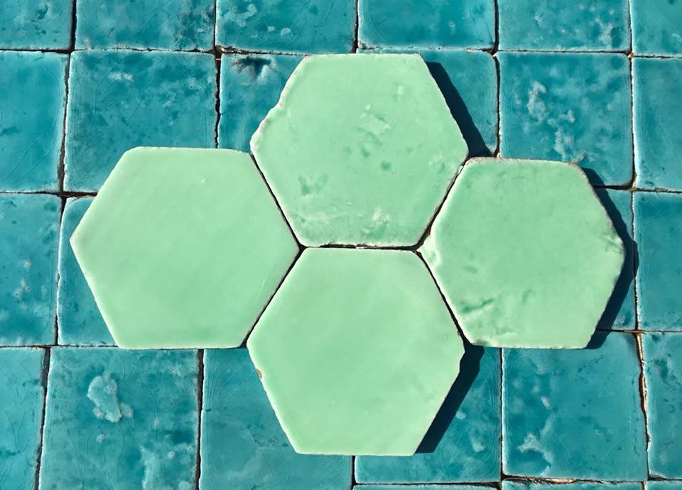 azulejos ceramicos rusticos para cocinas o baños azules